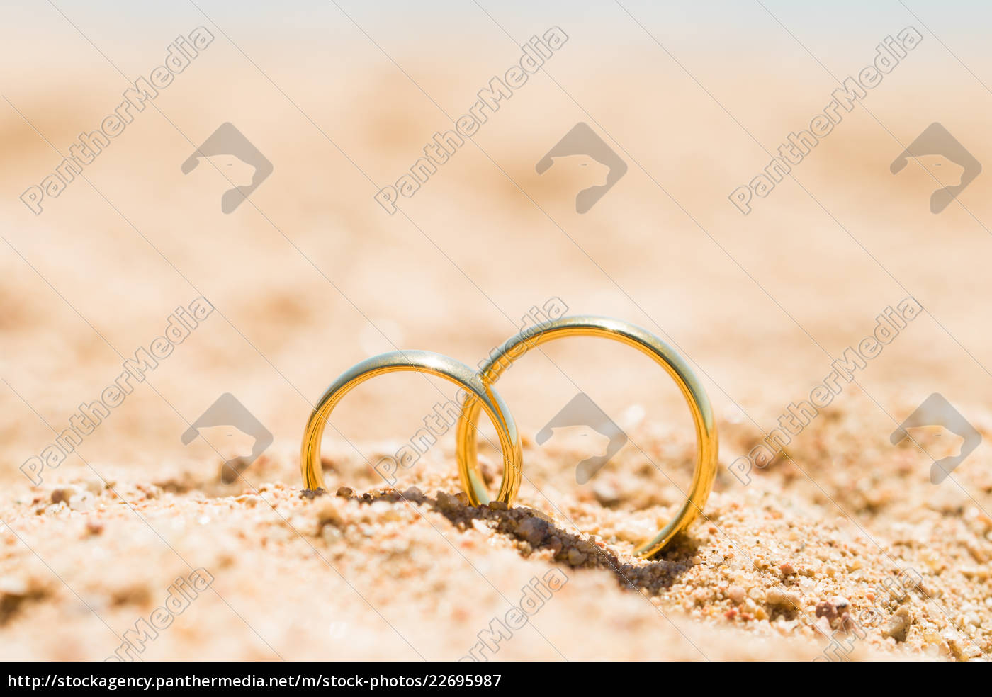 two, golden, rings, in, sand - 22695987