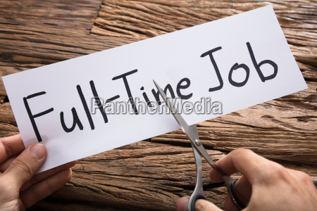 hands cutting full time job words
