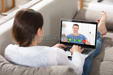 woman video chatting with a man