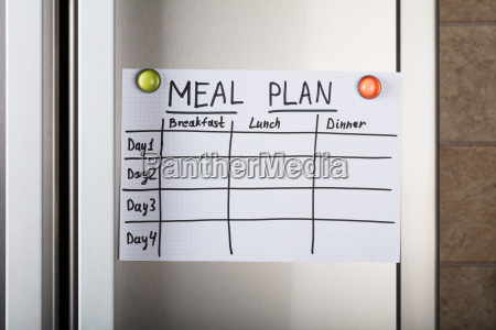 daily meal plan paper attached with