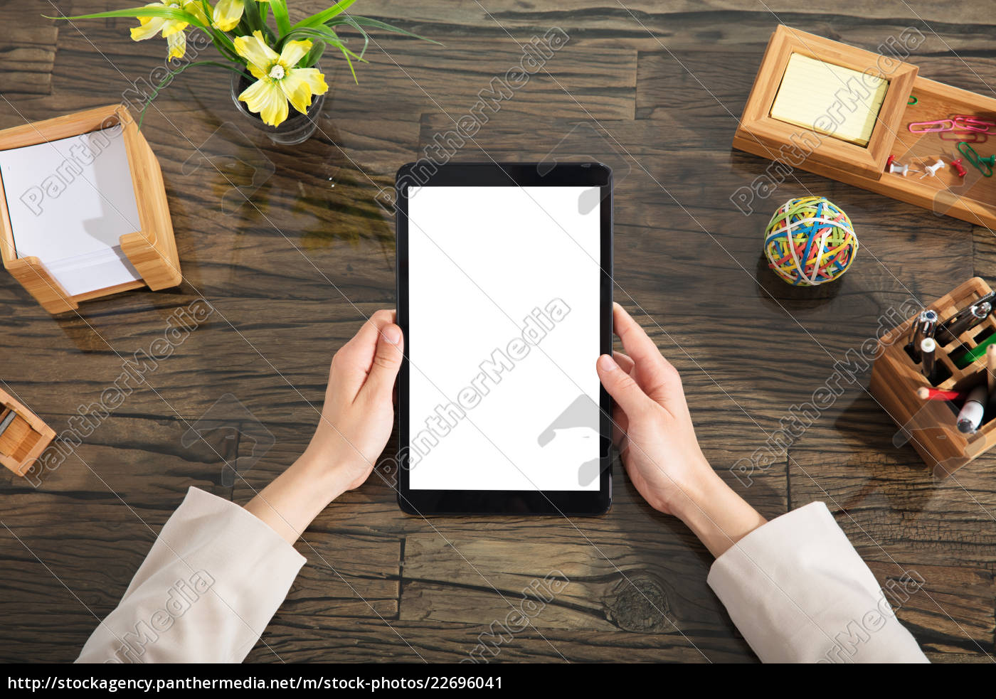 businessperson, holding, blank, digital, tablet - 22696041