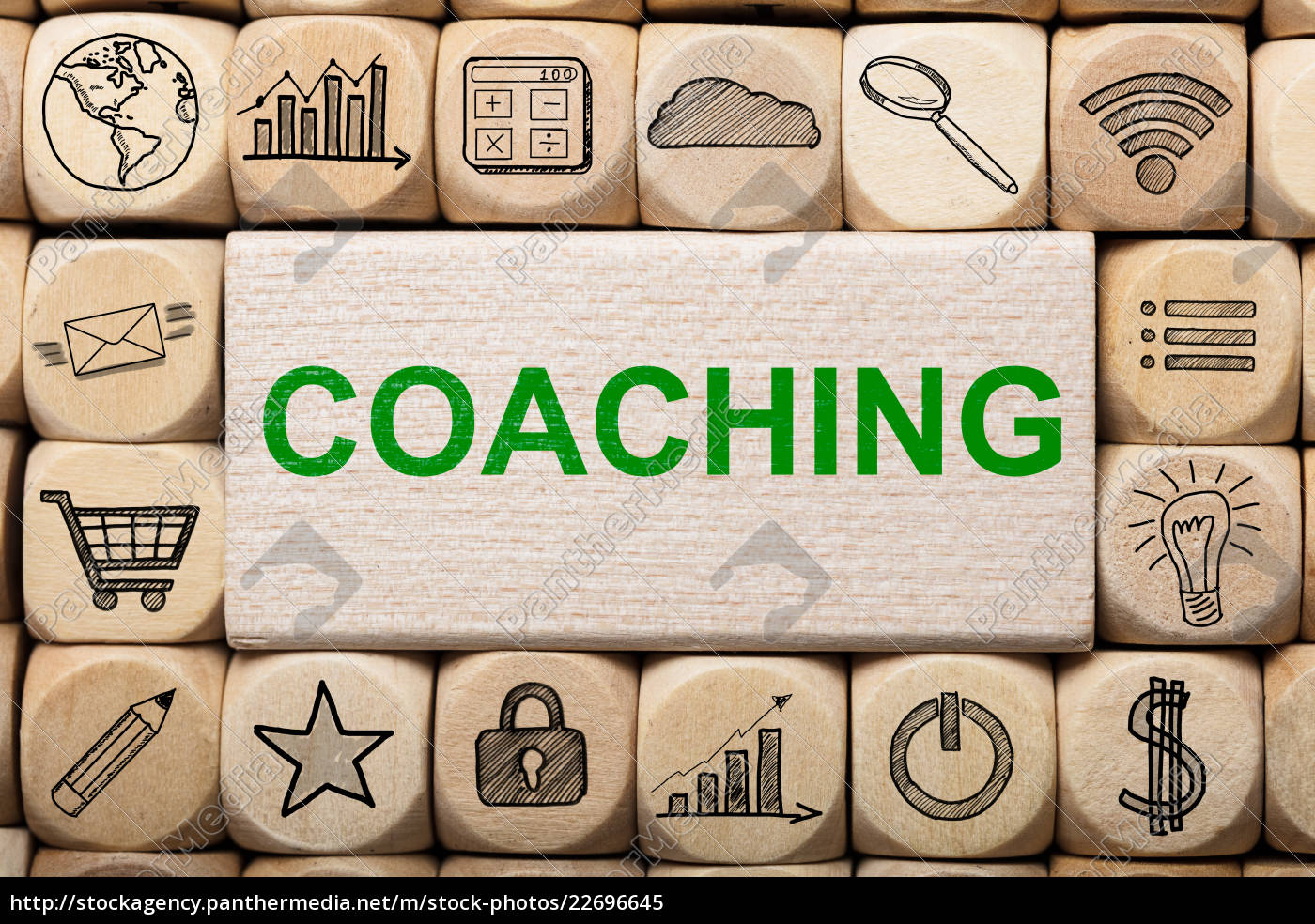 coaching, text, on, wooden, block, surrounded - 22696645