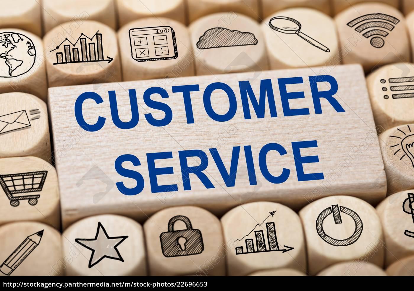customer, service, text, on, wooden, block - 22696653