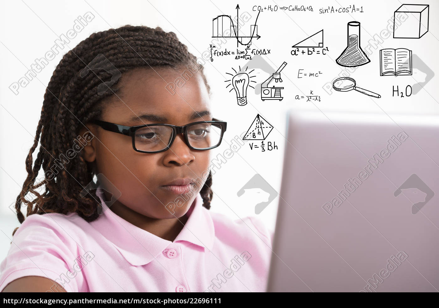girl, studying, with, laptop - 22696111