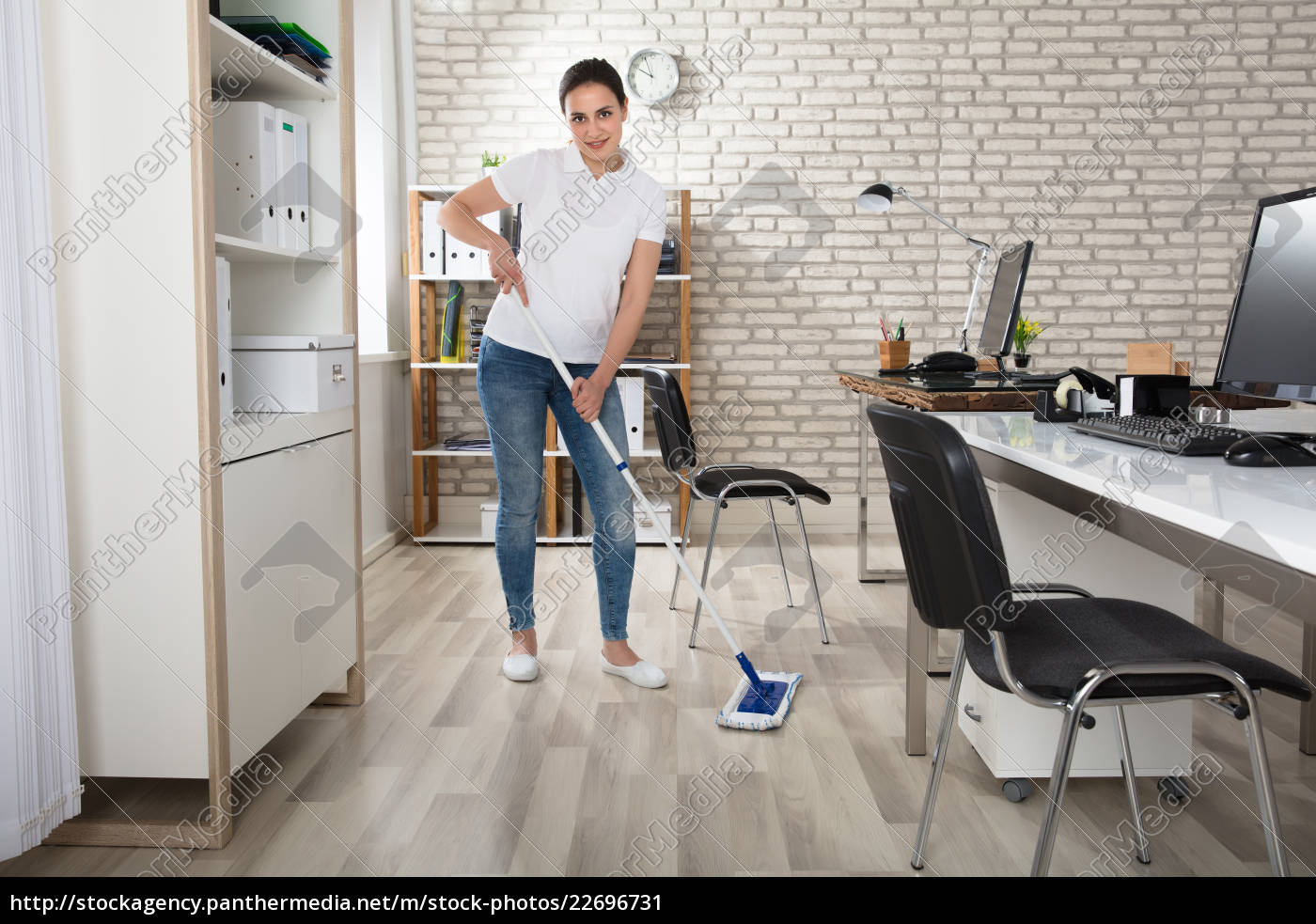 young, woman, cleaning, the, floor - 22696731