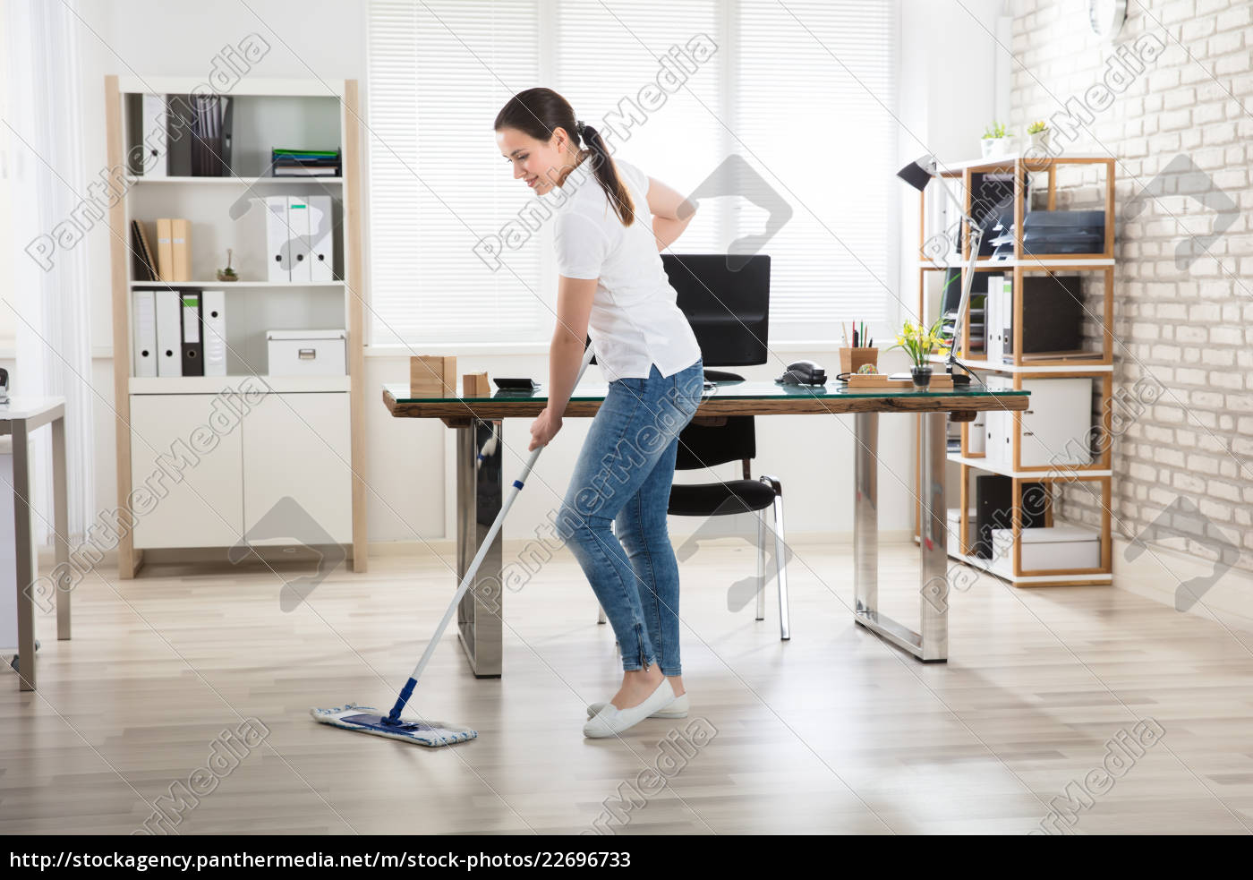 young, woman, cleaning, the, floor - 22696733