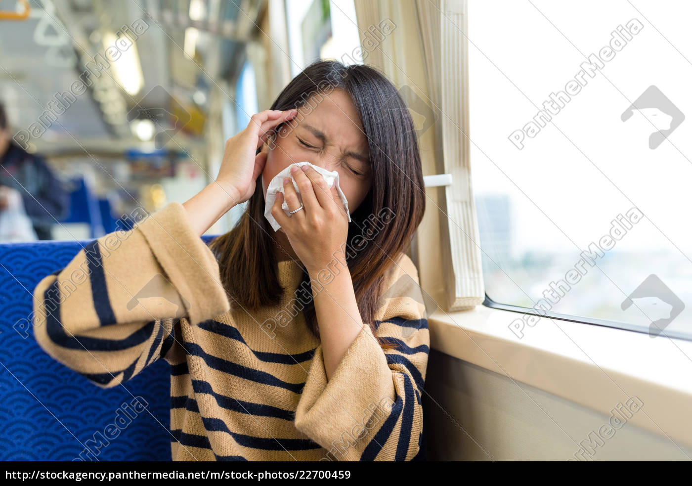 woman, suffer, from, sick, inside, train - 22700459