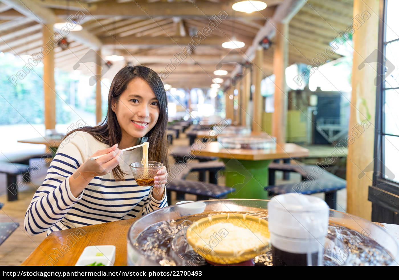 young, woman, eating, japanese, cold, noodles - 22700493