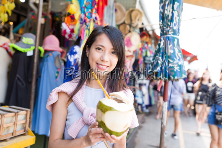 young, woman, shopping, at, street, and - 22700405