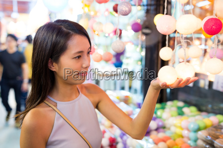 young, woman, shopping, in, street, market - 22700513