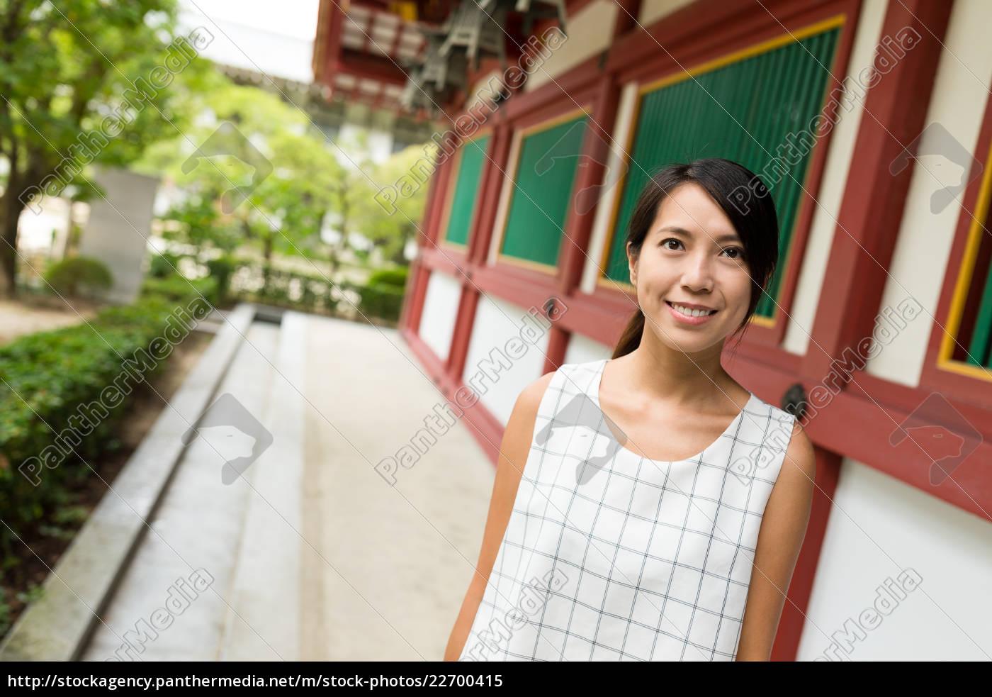 young, woman, visit, dazaifu, tenmangu, shrine - 22700415
