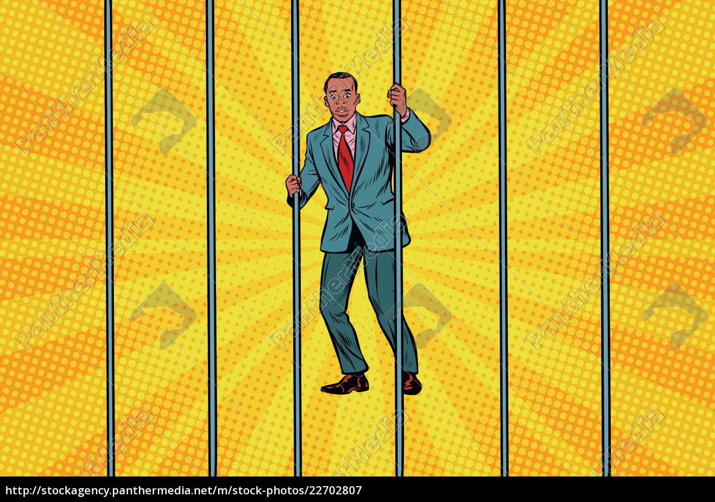 african, businessman, in, jail, behind, bars - 22702807