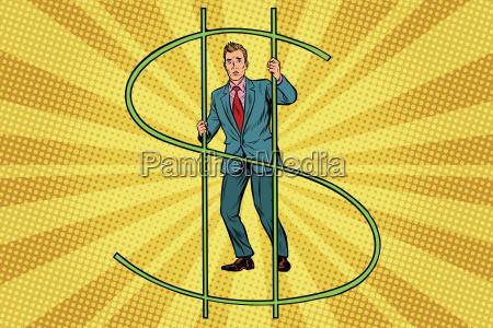 businessman, behind, bars, money - 22702861