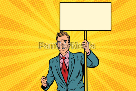 protester, businessman, with, a, placard, at - 22702793