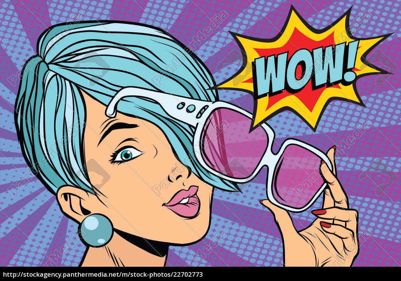 sunglasses, pop, art, woman, wow, reaction - 22702773