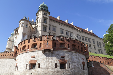 wawel royal castle with defensive wall