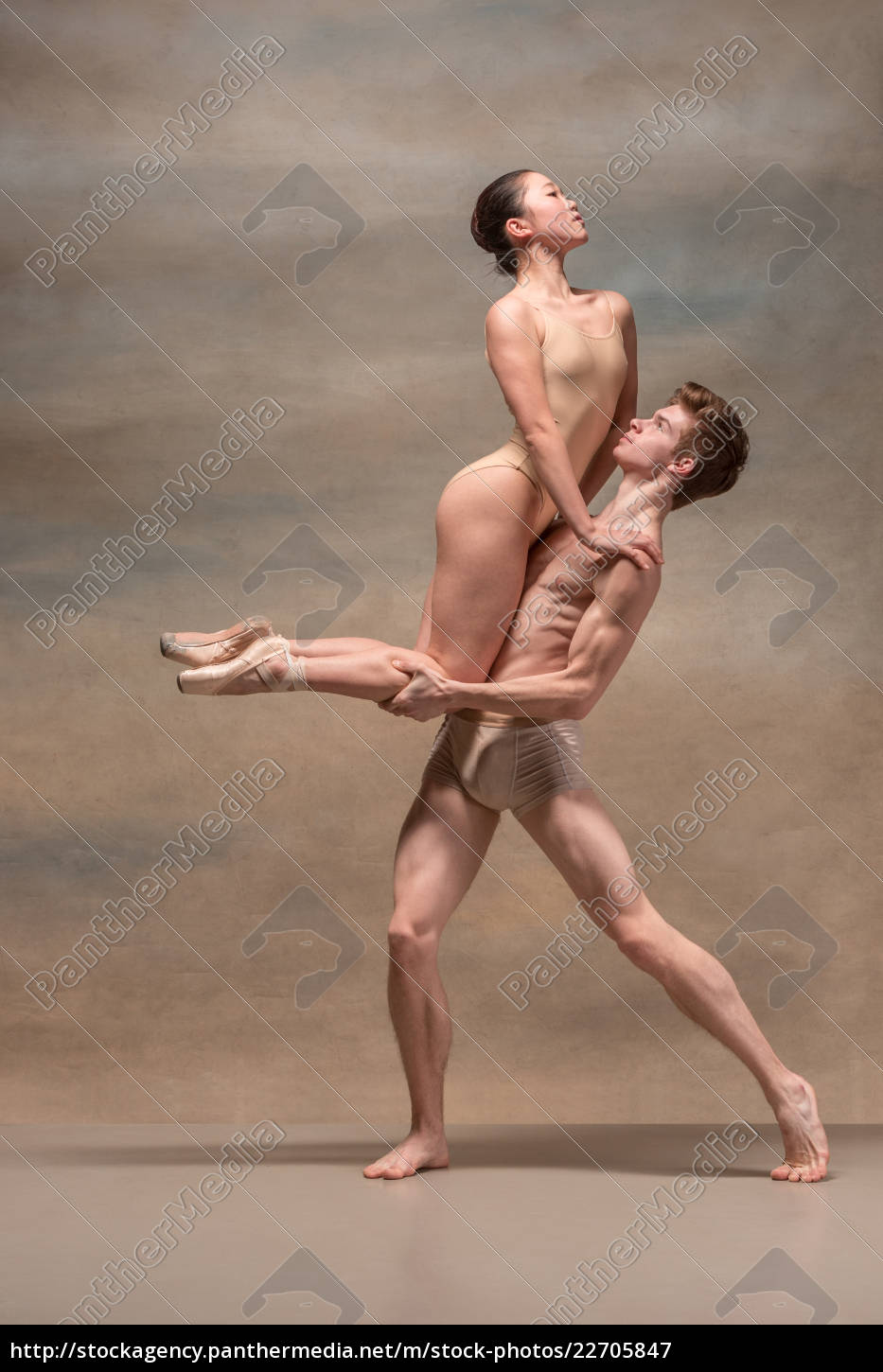 couple, of, ballet, dancers, posing, over - 22705847