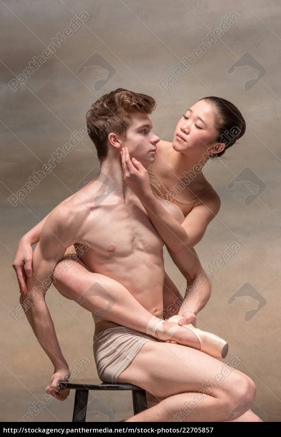 couple, of, ballet, dancers, posing, over - 22705857