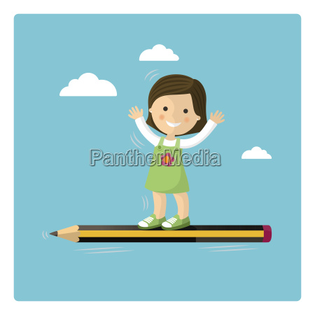 girl flying in a pencil through