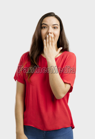 happy and shy woman