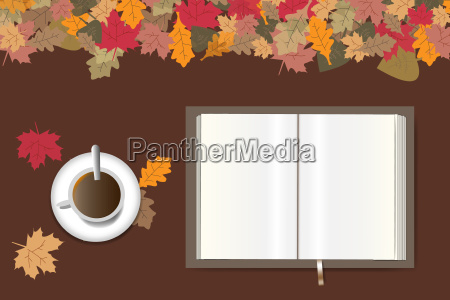autumn table design with open book