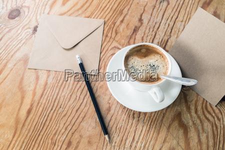 coffee cup pencil envelope