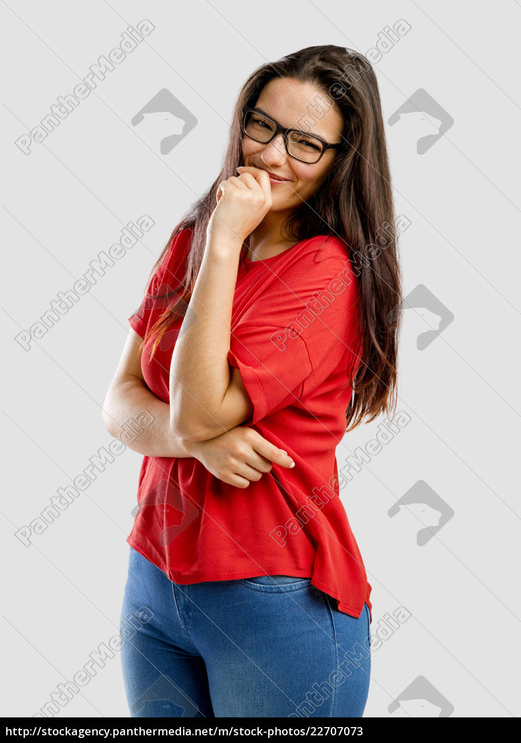 happy, and, shy, woman - 22707073