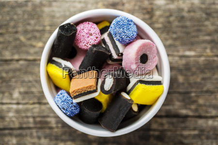 mixed liquorice candies in bowl