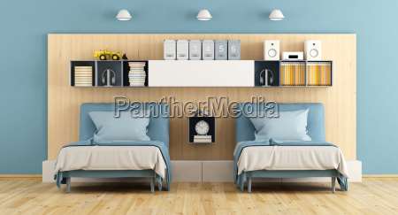 blue, and, wooden, teenage, bedroom - 22709999