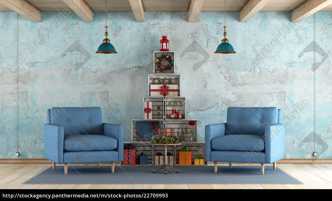 retro, living, room, with, christmas, decorations - 22709993