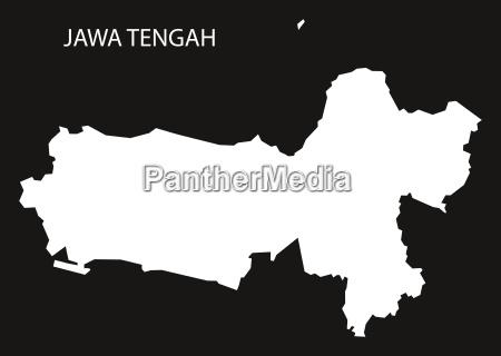 jawa tengah indonesia map black inverted