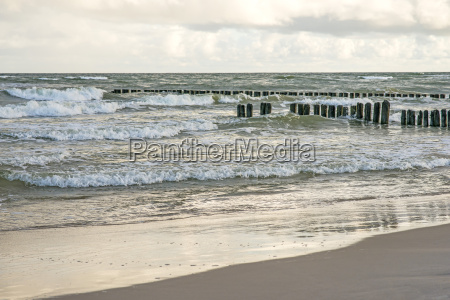 baltic sea beach with old groynes