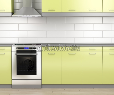 stove and range hood in the