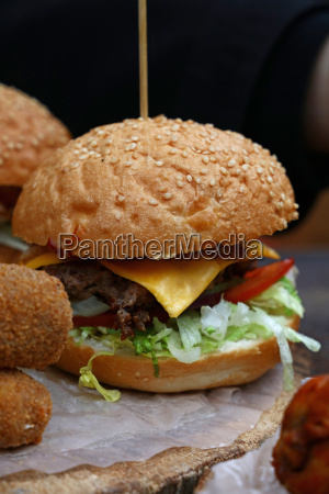 big burger with pulled pork meat
