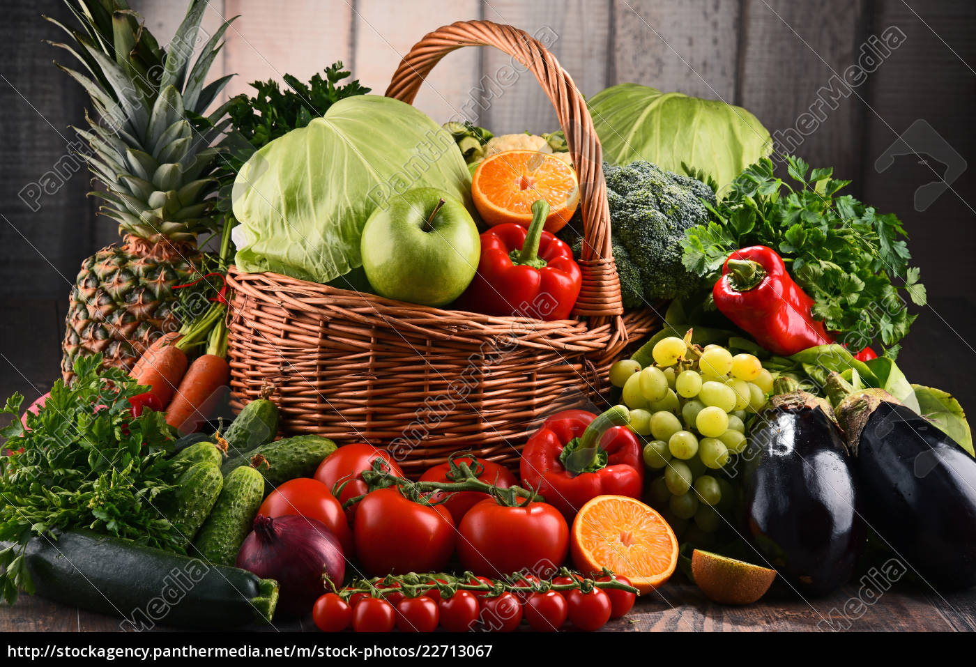 assorted, raw, organic, vegetables, and, fruits - 22713067