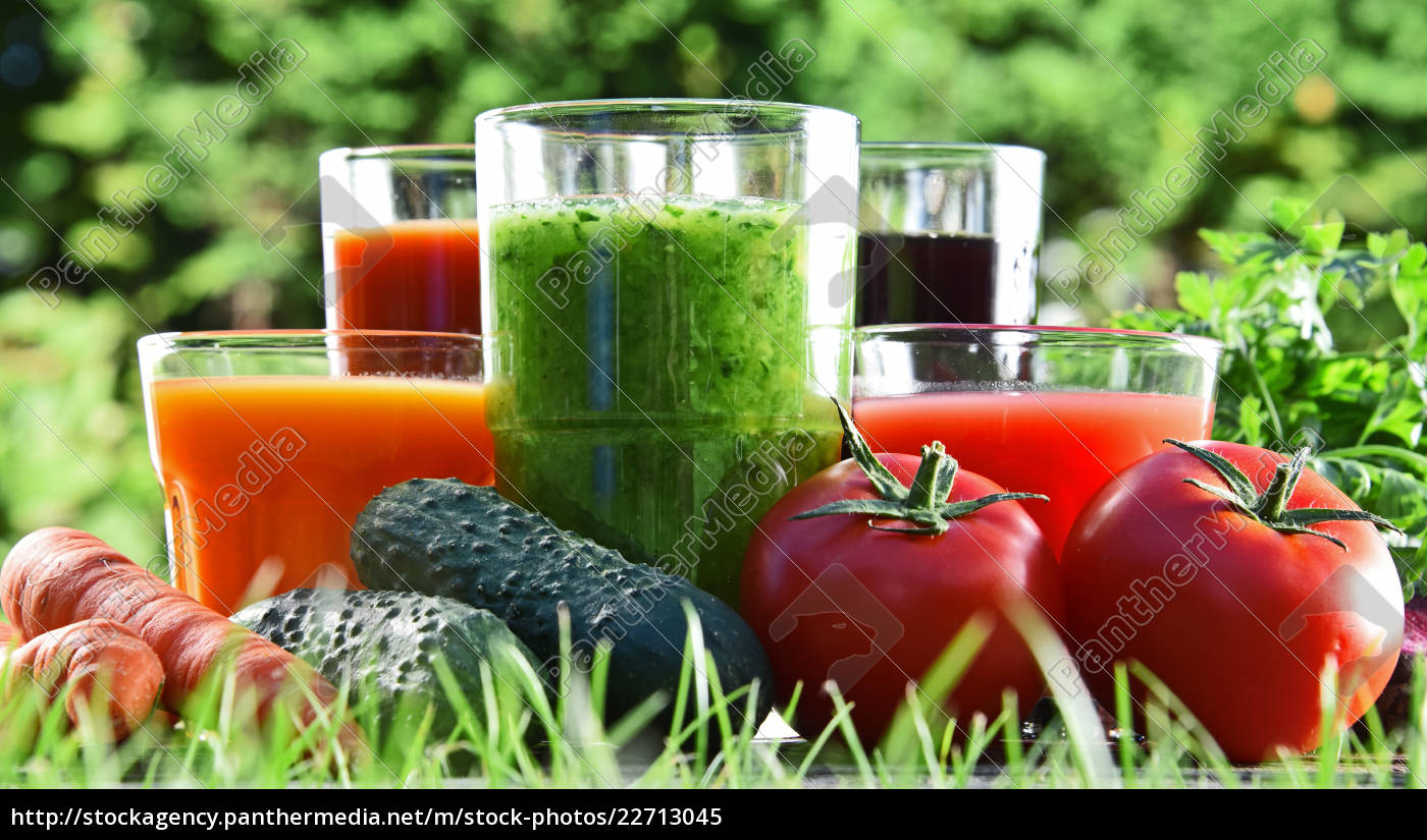 glasses, with, fresh, organic, detox, juices - 22713045
