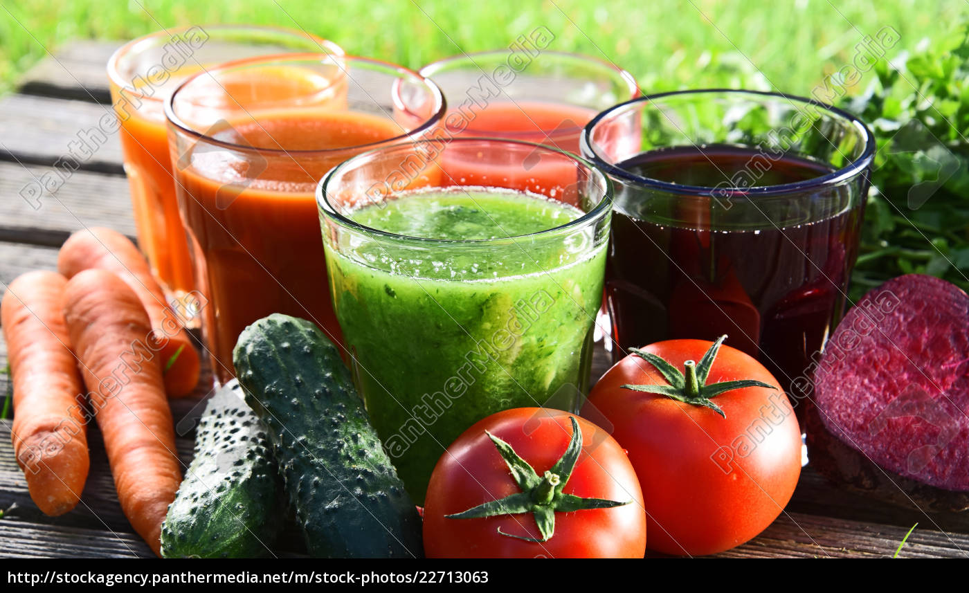 glasses, with, fresh, organic, detox, juices - 22713063