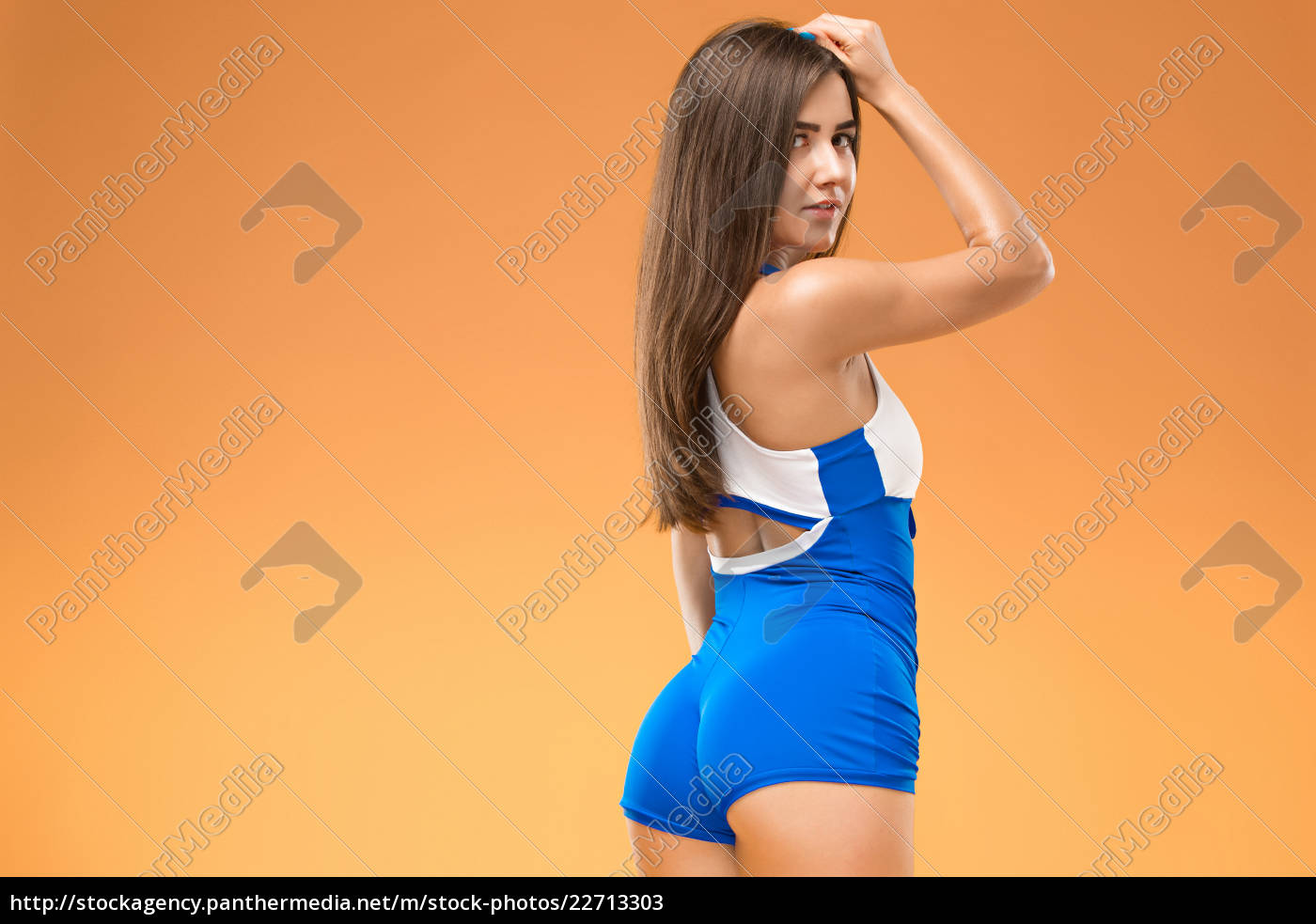 muscular, young, woman, athlete, posing, at - 22713303