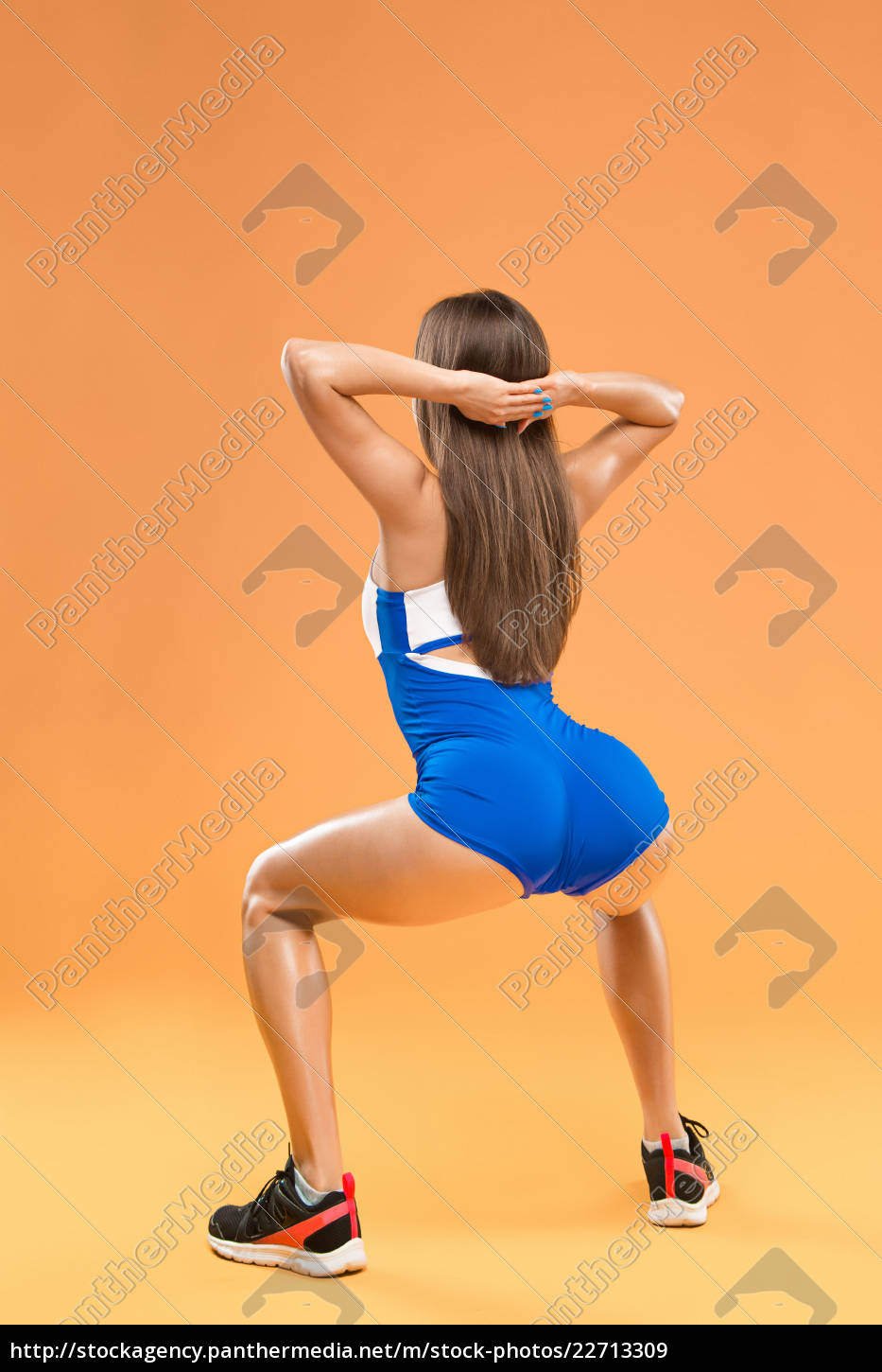 muscular, young, woman, athlete, posing, at - 22713309