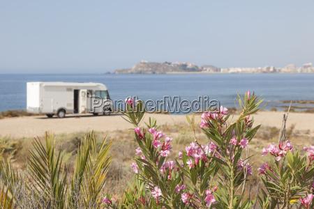 motorhome at the mediterranean coast