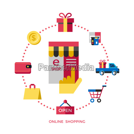 digital vector white online shopping icons