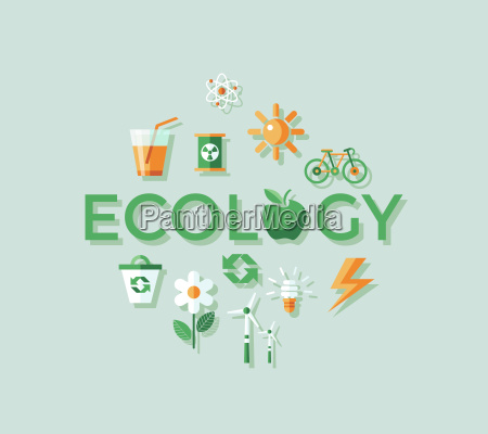 digital vector green ecology icons with