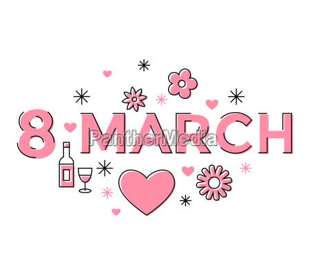 digital vector pink 8 march design