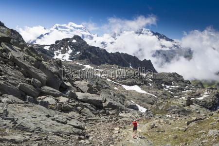 a mountain runner in a barren