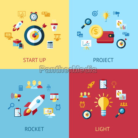 digital vector blue red startup icons