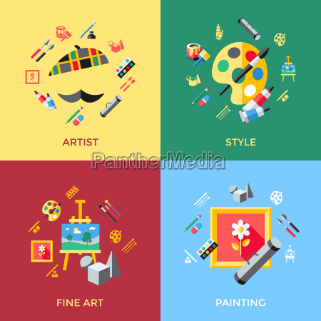 digital vector blue red artist icons