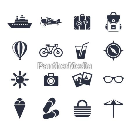 digital vector black beach travel icons
