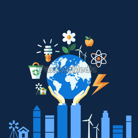 digital vector blue ecology icons with