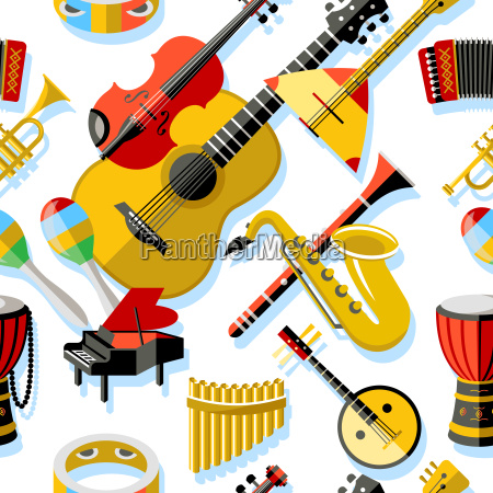 digital vector yellow red music instruments