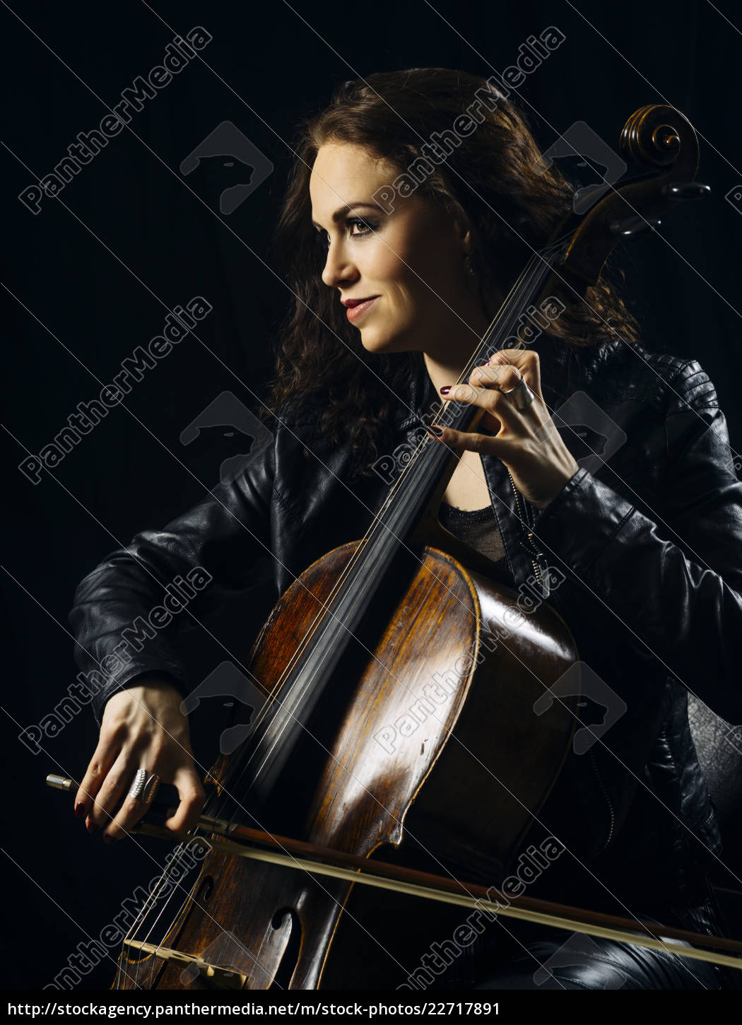 attractive, cello, player, playing, her, instrument - 22717891